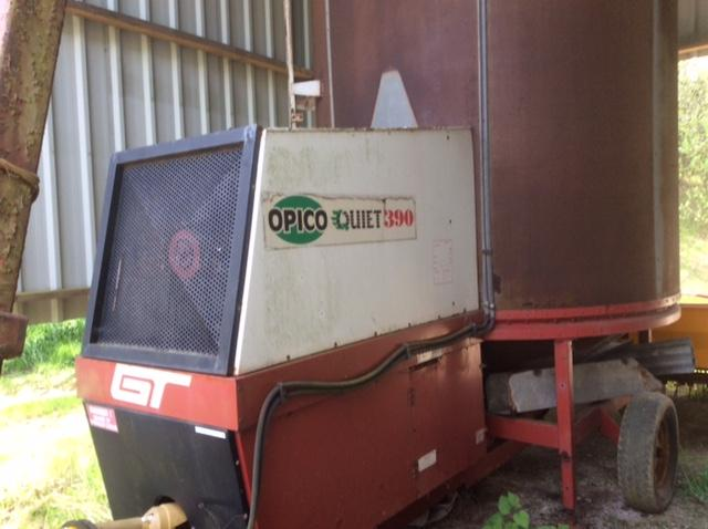 Opico 390QF Quiet Fan 9 ton gas grain dryer c/w PTO drive